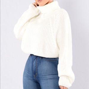 Loose Cropped Fit Cowl Neck Sweater